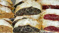 hungarikum-almás, mákos, meggyes rétes strudel with apple, poppy and sour cherry Hungarian Desserts, Hungarian Cuisine, Hungarian Recipes, Hungarian Food, Cookie Recipes, Dessert Recipes, Savory Pastry, Strudel, Sweet And Salty