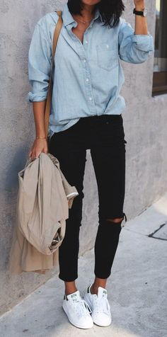 summer outfits  Chambray Shirt + Black Ripped Skinny Jeans + White Sneakers