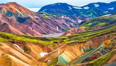 Photo about Beautiful colorful volcanic mountains Landmannalaugar in Iceland, summer time. Image of hiking, icelandic, field - 96025591 Iceland Trekking, Iceland Travel, Iceland Places To Visit, Places To See, Hiking Europe, Hiking Tours, Iceland Excursions, Volcano Iceland, Iceland Landscape