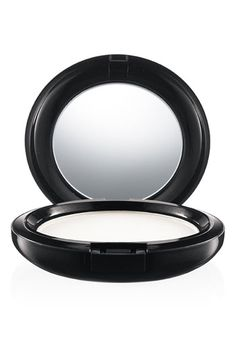 MAC Prep+Prime --use a foam pad! A silky, colorless finishing powder suitable for all skin tones. Reduces shine while optically minimizing the look of lines and imperfections. Wear over makeup or on its own. Now in a pressed compact for ease and portability. $24