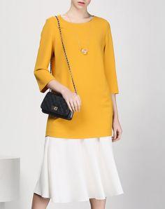 #AdoreWe #VIPme Shift Dresses - SAINTY Yellow Long Sleeve Shift Dress With White Hem - AdoreWe.com