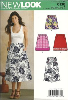New Look 0136 A line skirt - 3 views (sizes 10-22).