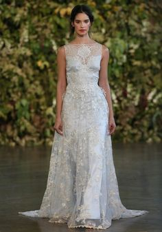 High Neck Sheath Wedding Dress  with Natural Waist in Lace. Bridal Gown Style Number:33116005