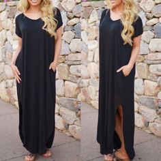 🆕CHARLIZE solid boho dress - BLACK LOOSE FIT LONG DRESS WITH POCKET AND SIDE OPEN DETAIL.  🚨NO TRADE, PRICE FIRM🚨 Bellanblue Dresses Maxi