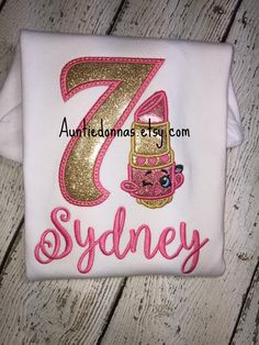Lippy Lip lipstick queen Princess shop kins Shopkins birthday shirt applique  Glitter name age number
