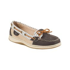 Women's Sperry Top-Sider Angelfish Stripe Boat Shoe - Medium Grey... ($90) ❤ liked on Polyvore featuring shoes, loafers, casual, casual shoes, lace up shoes, grey boat shoes, grey shoes, deck shoes and cap toe shoes
