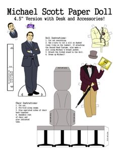 """""""The Office"""" Paper Doll: Michael Scott with Desk and Costumes Office Themed Party, Office Birthday, Office Parties, Birthday Ideas, Michael Scott, Papercraft Anime, The Office Show, Office Paper, Office Art"""