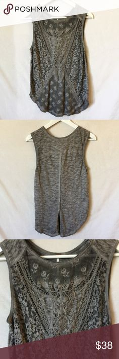 """Free People Embroidered Split-back Tank Top Embroidered tank top from Free People. Back can be worn open or snapped close. Measures 17"""" across the bust and 27"""" from top of shoulder to bottom hem. Cotton/poly blend. Free People Tops Tank Tops"""