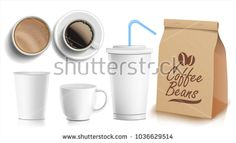 Coffee Packaging Design Vector. Cups Mock Up. White Coffee Mug. Ceramic And Paper, Plastic Cup. Top, Side View. Blank Foil Packaging. Realistic Isolated Illustration