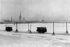 Tram crossing, on the ice of the Neva. Saint Petersburg. 1914
