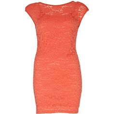 get gorgeous going out style with this coral lace bodycon dress