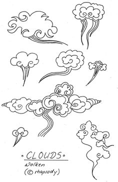 Clouds.Chinese style curlicues. This is how ancient Chinese portrayed waves and clouds in paintings and textiles.