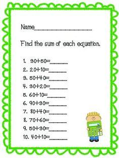 math worksheet : 1 nbt 4 adding multiples of 10  practice sheets and story  : Adding Multiples Of 10 Worksheet