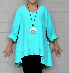 MOSAIC USA 2420 Linen Lagenlook FLARE POCKET TUNIC Top M (fits to M/L) JADE