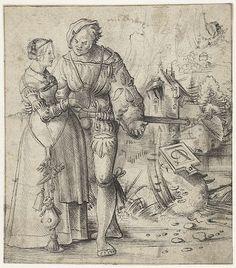 Krijgsman en jonge vrouw in landschap, Urs Graf, 1500  #publicdomain