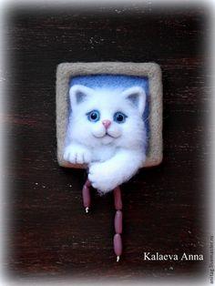 Купить Снежок,вороватый котейка))))Магнит - разноцветный, магнит, магнит на холодильник, магнит в подарок, магниты на холодильник