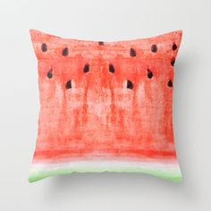 watermelon / watercolor Throw Pillow by Little