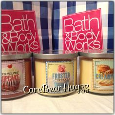 Bath and Body Works Red Velvet Cupcake, Frosted Cupcake and Pineapple Creampuff candle Spring 2014 Sweet Shop Collection