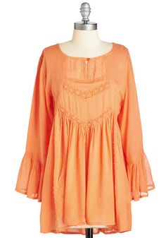 Spread the Happy Tunic. Youre always accompanied by your biggest smile when you wear this bright orange tunic! #gold #prom #modcloth