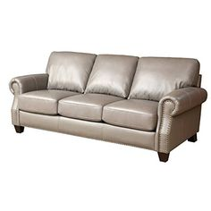 Pemberly Row Leather Sofa in Gray