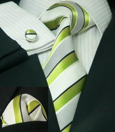Lime Green/White and Black Stripe Toramon Silk Tie Set JPM305 – Toramon Necktie Company