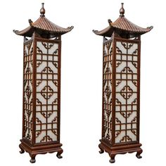 Pair of Chinese Style Floor Lamps Oriental Bedroom, Chinese Lamps, Old Lanterns, Chinoiserie Chic, Wood Lamps, Chandelier Lamp, Chinese Style, Floor Lamp, Bulb