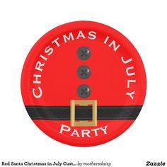 "Red Santa Christmas in July Custom Paper Plates 7"""