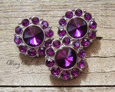 3 Purple Rhinestone Buttons