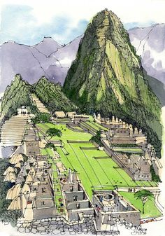 Sketchbook Drawing James Richards Sketchbook: A Line on Machu Picchu Sketch Painting, Watercolor Sketch, Watercolor Landscape, Watercolor Trees, Watercolor Artists, Watercolor Portraits, Watercolor Painting, Abstract Paintings, Travel Sketchbook
