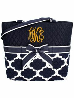 Navy Moroccan Geometric Quilted Diaper Bag