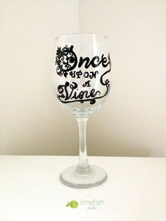 "Hand-Painted Wine Glass ""Once Upon A Vine"" . Wine Lover Gift Ideas . Vineyard Theme . Wine Party . By LIMEFISHSHOP on Etsy"