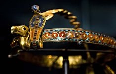 Inlaid Diadem with Vulture and Cobra. Gold, glass, obsidian, carnelian, malachite, chalcedony, lapis lazuli. Dynasty 18, reign of Tutankhamun (1332–1323 B.C.). Thebes, Valley of the Kings, tomb of Tutankhamun Golden Age