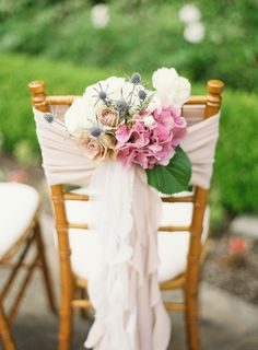 Chair decoration (Floral Design: The Bloom of Time) - San Juan Capistrano Wedding at the Franciscan Gardens by Desi Baytan Photography Wedding Chair Decorations, Wedding Chairs, Floral Wedding, Wedding Flowers, Wedding Scene, Wedding Ceremony, Franciscan Gardens, Festa Party, French Wedding