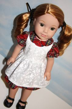 Red plaid Christmas Dress with white pinafore by SewLikeBetty on Etsy. Made from the School Girl and the Sugar N Spice & Everything Nice Dress & Pinafore with Dress Up Accessories for WellieWishers Dolls patterns. Get them at http://www.pixiefaire.com/collections/crabapples/products/school-girl-for-13-14-5-dolls. http://www.pixiefaire.com/products/sugar-n-spice-everything-nice-dress-pinafore-with-dress-up-accessories-for-welliewishers-dolls. #pixiefaire #schoolgirlforwelliewishers…