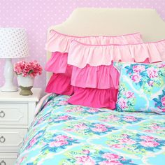 Riley's Rose Pink & Aqua Duvet Cover