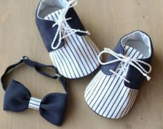 Navy blue and white striped baby boy shoes and BOW tie, tuxedo outfit, wedding shoes, baby shower gift