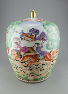 Chinese Export Style Famille Rose Ginger Jar