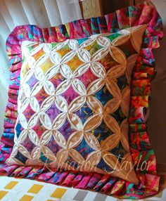 Cathedral Window Patchwork Pillow