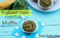 Fruit and Veggie Smoothie Muffins | 2 ripe bananas 2 cups packed baby spinach 1 cup frozen mango chunks 1 1/2 cups whole wheat flour 1/2 cup sugar 1 egg 1/4 cup oil  1 tsp baking soda 1 tsp cinnamon 1/8 tsp salt