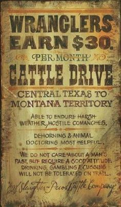 old west cattle drive | Back to Cowboy/Western Decor Signs