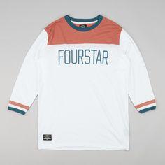 Fourstar League Football 3/4 Sleeve T-Shirt - White | Flatspot