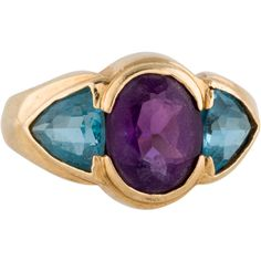 Amethyst and Topaz Band (24985 RSD) ❤ liked on Polyvore featuring jewelry, rings, band jewelry, purple topaz ring, purple jewelry, triangle ring and topaz band ring