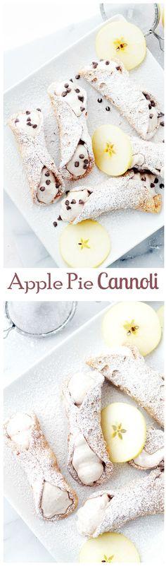 Apple Pie Cannoli | www.diethood.com | Crispy Cannoli Shells filled with a decadent Apple Pie Ricotta Cream.