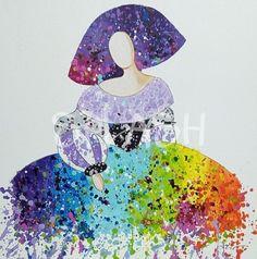 Menina moderna salpicada de color 2 SP757 Collages, Arts And Crafts, Diy Crafts, Palette Knife Painting, Art School, Creative Art, Painting & Drawing, Cool Art, Nice Art