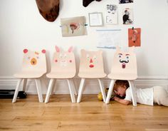It's hard not to smile the second you set your eyes on these truly adorable kids' chairs by the modern kids' furniture mavens at Oeuf NYC.