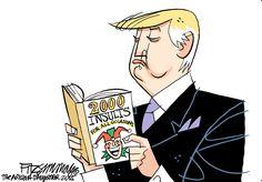 Editorial cartoon by David Fitzsimmons: Trump's reading list | Washington Examiner / Trump studies the THREE B's: boorishness, buffoonery and bullying.