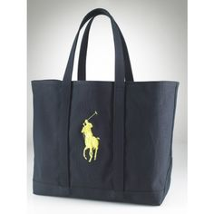 Ralph Lauren Large Canvas Tote Black/Yellow is on promation, don't loss the chance.