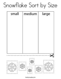 Snowflake Sort by Size Coloring Page - Twisty Noodle Speech Activities, Sorting Activities, Learning Activities, Activities For Kids, Coloring Pages Nature, Coloring Pages Winter, Snow Theme, Winter Theme, Activity Ideas