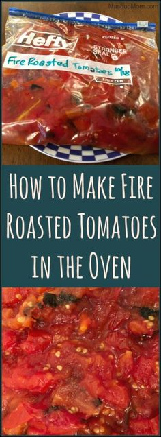 , How To Make Roasted Tomatoes In The Oven: It& So Easy To Make It! I try to freeze a few batches over the summer to have a cell phone for recipes . , How to Make Fire Roasted Tomatoes in the Oven Garden Tomato Recipes, Fresh Tomato Recipes, Vegetable Recipes, Oven Roasted Tomatoes, Roasted Tomato Sauce, Roast Tomatoes In Oven, Roasting Tomatoes For Sauce, Freezing Tomatoes, How To Freeze Tomatoes