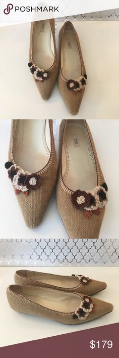 ⭐️PRADA CROCHETED FLORAL FLATS AUTHENTIC PRADA WOMENS CROCHETED FLORAL FLATS 100% AUTHENTIC. STUNNING AND STYLISH TOTALLY THE HOT NOW LOOK! THEY ARE LOVELY! THE COLOR IS TAN AND THEY ARE A EUROPEAN SIZE 35.5 WHICH CONVERTS TO A AMERICAN Prada Shoes Flats & Loafers